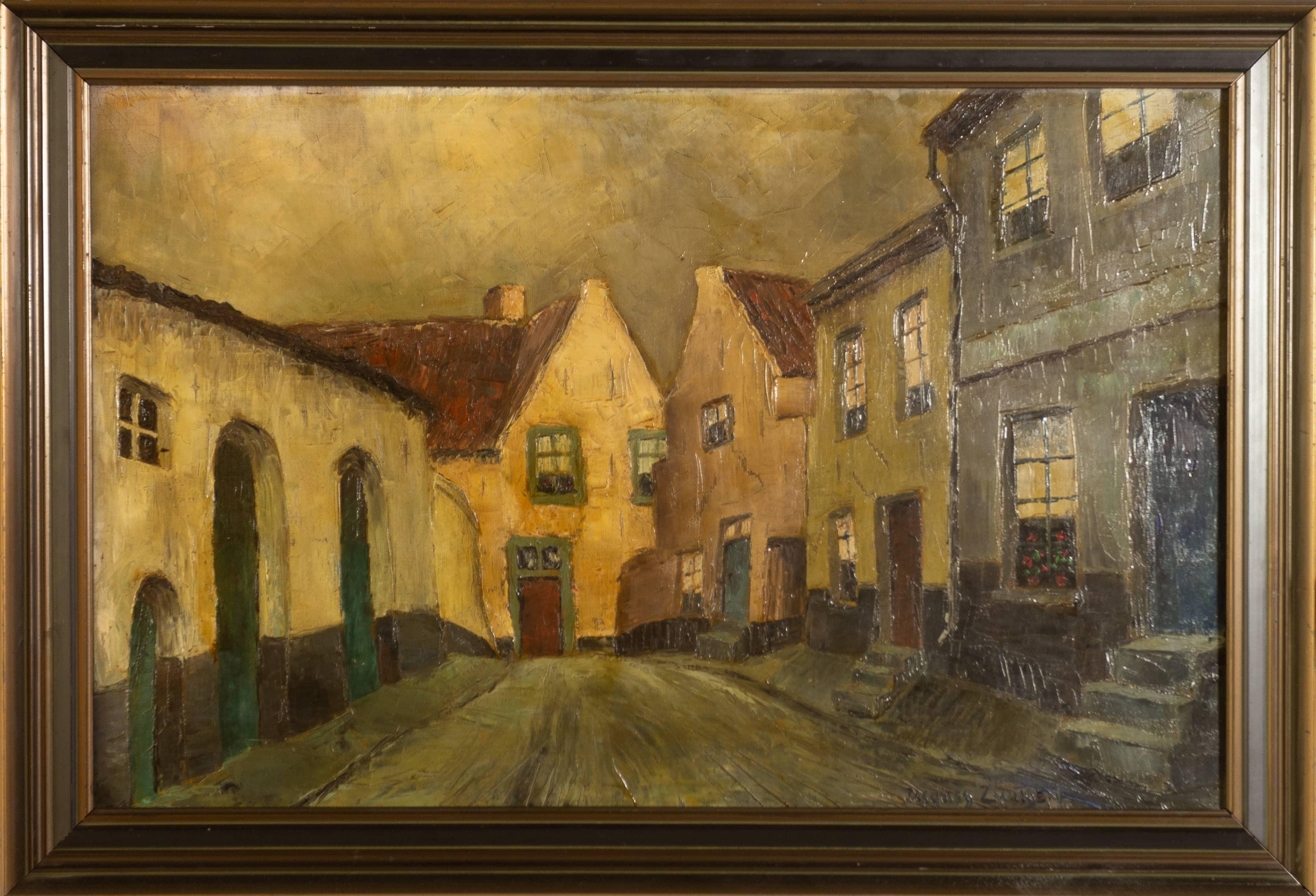 Daalstraat Thorn - Jacques Zwijsen - ca. 1930, olieverf op doek, 45 x 70 cm