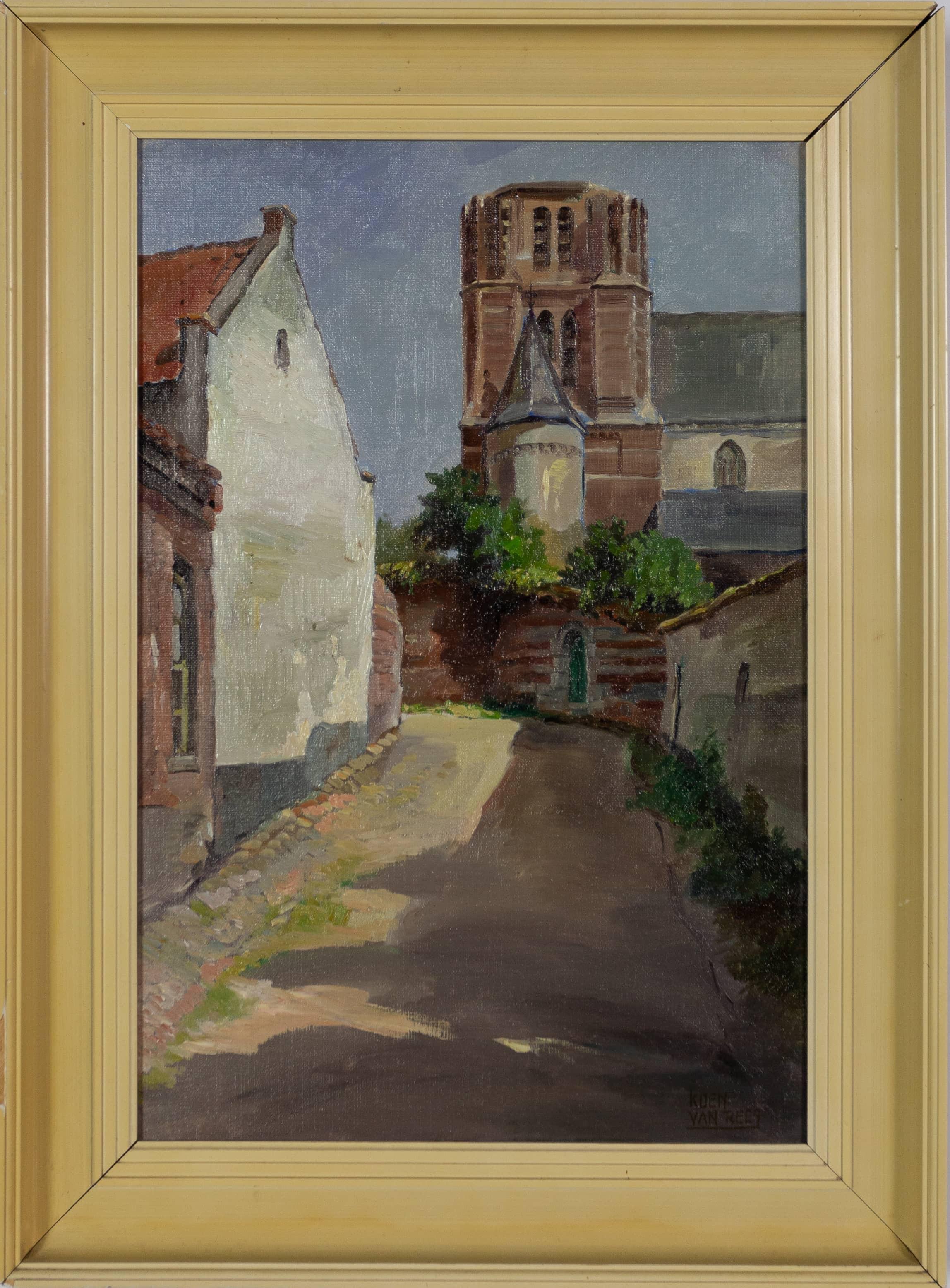 Kerkberg Thorn - Koen van Rees - ca. 1950, olieverf op doek