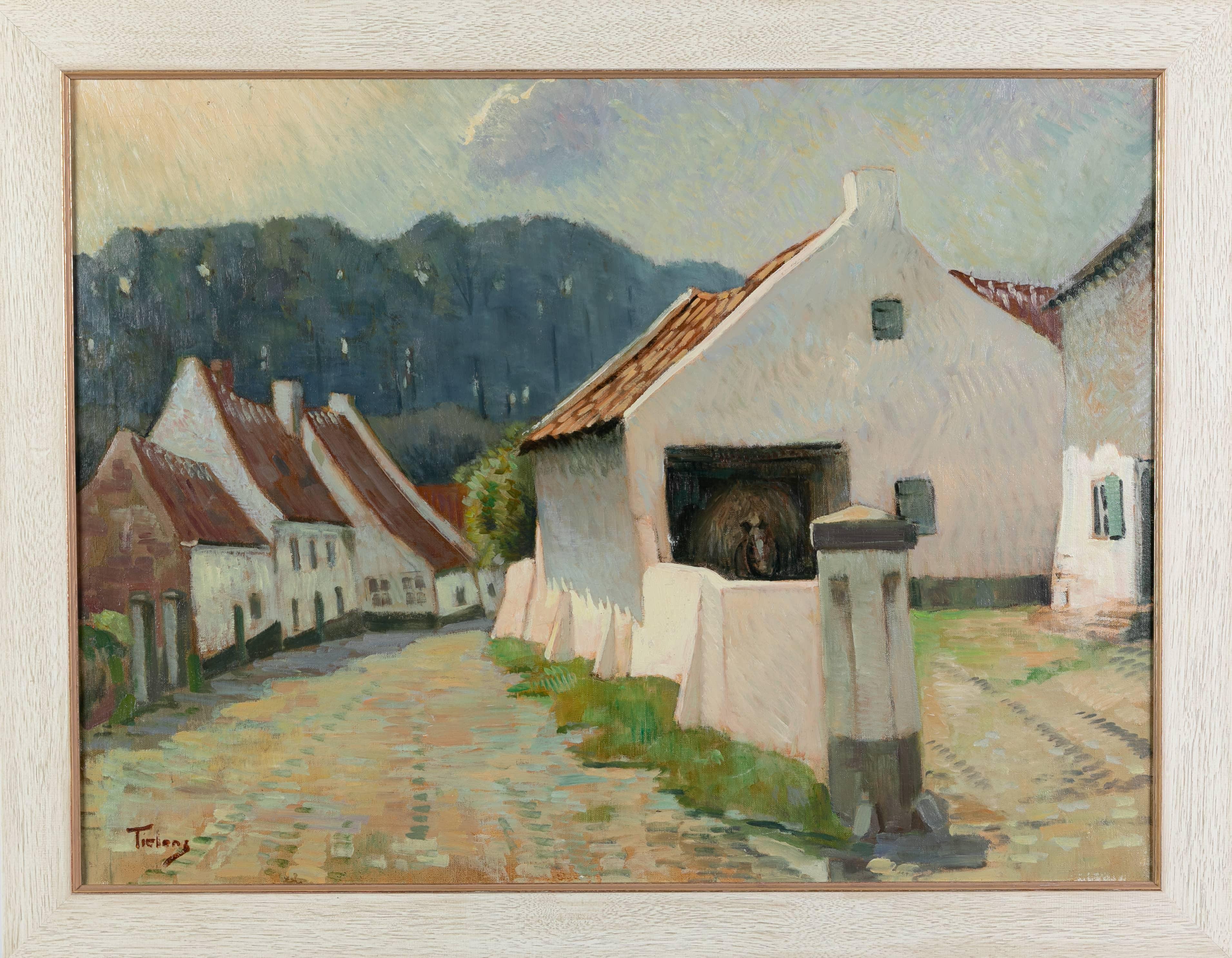 Beekstraat Thorn - George Tielens - olieverf op doek, 78 x 58 cm