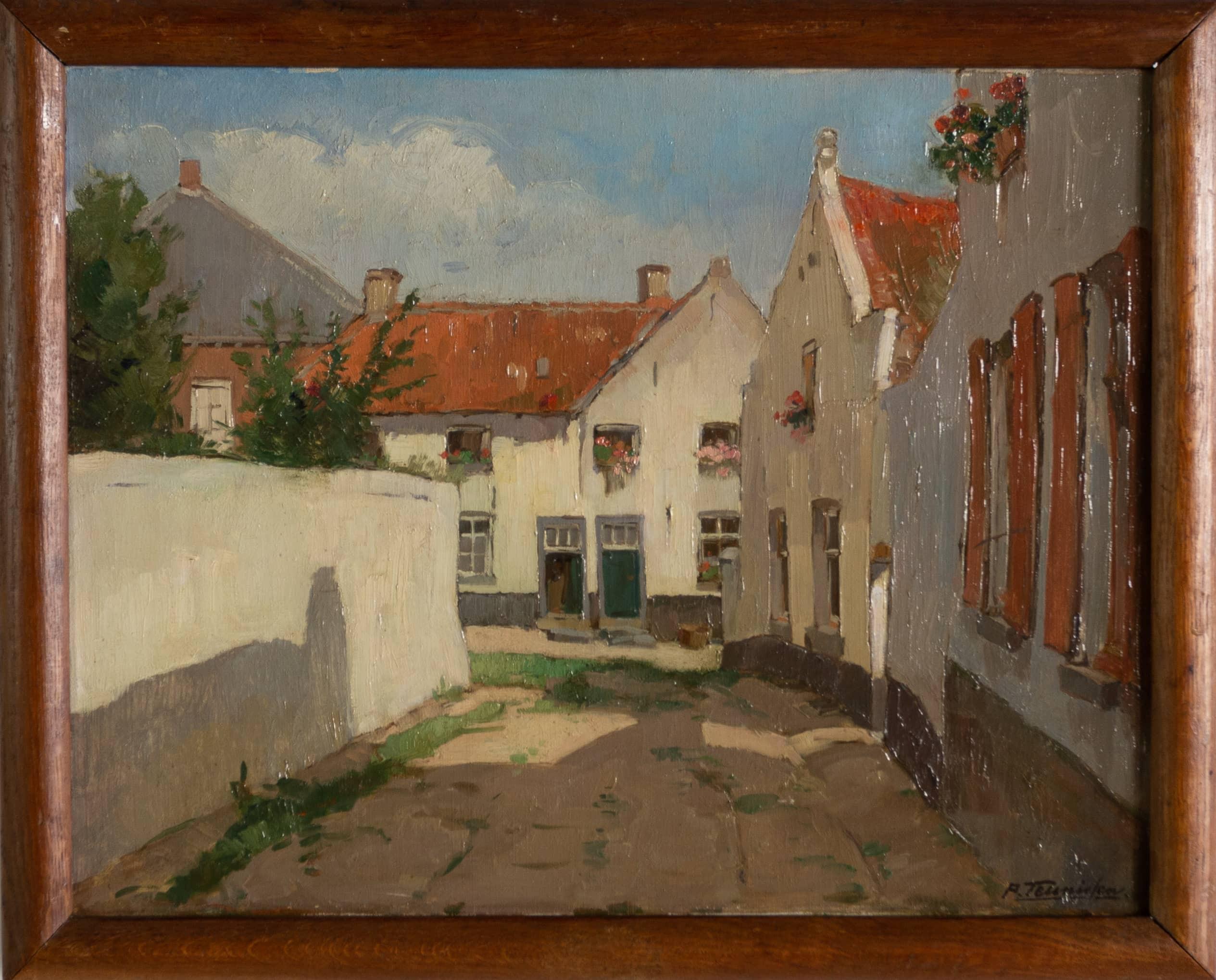 Daalstraat Thorn - Piet Teunissen - ca. 1950, olieverf op doek, 49,7 x 61,7 cm